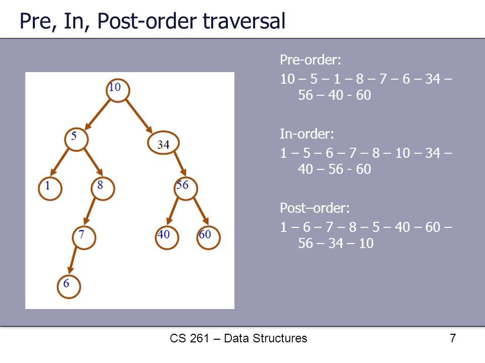 Pre, In, Post-order traversal Pre-order: 10 – 5 – 1 – 8 – 7 – 6 – 34 – 56 – 40 - 60 In-order: 1 – 5 – 6 – 7 – 8 – 10 – 34 – 40 – 56 - 60 Post–order: 1
