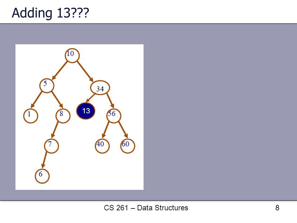 Adding 13??? CS 261 – Data Structures8 13