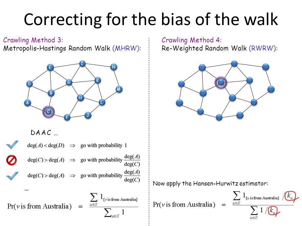 15 Crawling Method 3: Metropolis-Hastings Random Walk (MHRW): DAAC… … C C D D M M J J N N A A B B I I E E K K F F L L H H G G 15 Crawling Method 4: Re-Weighted Random Walk (RWRW): Now apply the Hansen-Hurwitz estimator: Correcting for the bias of the walk