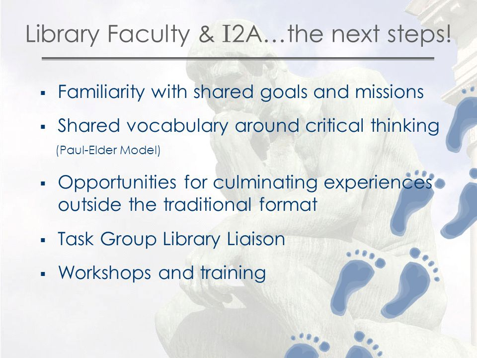 Library Faculty & I 2A…the next steps.