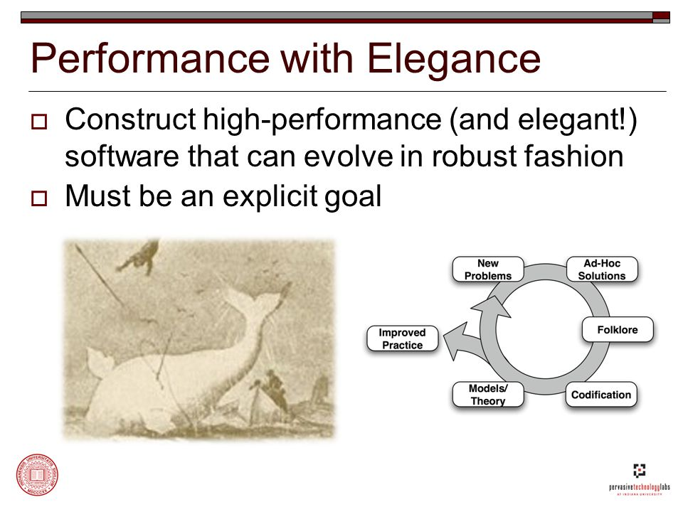 Performance with Elegance  Construct high-performance (and elegant!) software that can evolve in robust fashion  Must be an explicit goal