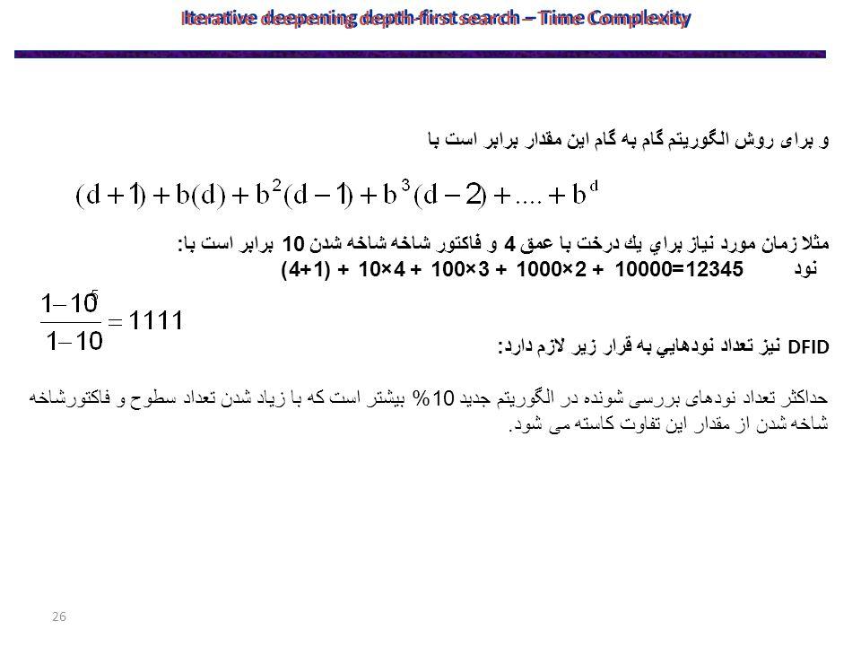 26 و برای روش الگوریتم گام به گام این مقدار برابر است با مثلا زمان مورد نياز براي يك درخت با عمق 4 و فاكتور شاخه شاخه شدن 10 برابر است با : نود 12345=10000 + 2×1000 + 3×100 + 4×10 + (1+4) DFID نيز تعداد نودهايي به قرار زير لازم دارد : حداکثر تعداد نودهای بررسی شونده در الگوریتم جدید 10% بیشتر است که با زیاد شدن تعداد سطوح و فاکتورشاخه شاخه شدن از مقدار این تفاوت کاسته می شود.