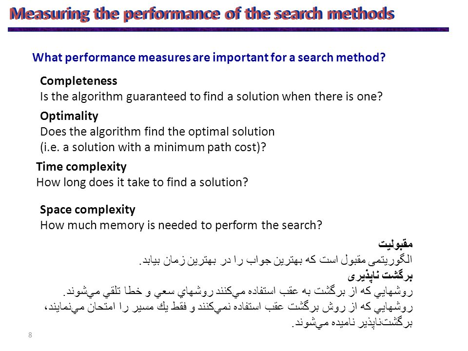8 Measuring the performance of the search methods Completeness Is the algorithm guaranteed to find a solution when there is one.