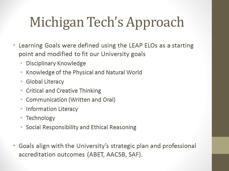 Michigan Tech's Approach Learning Goals were defined using the LEAP ELOs as a starting point and modified to fit our University goals Disciplinary Kno