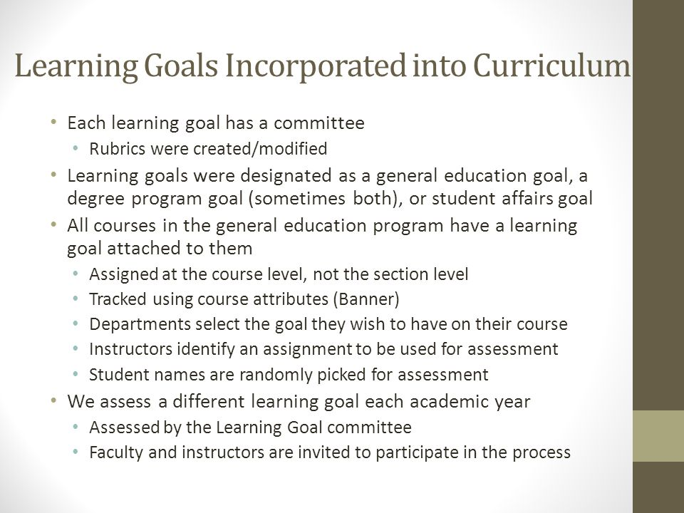 Learning Goals Incorporated into Curriculum Each learning goal has a committee Rubrics were created/modified Learning goals were designated as a gener