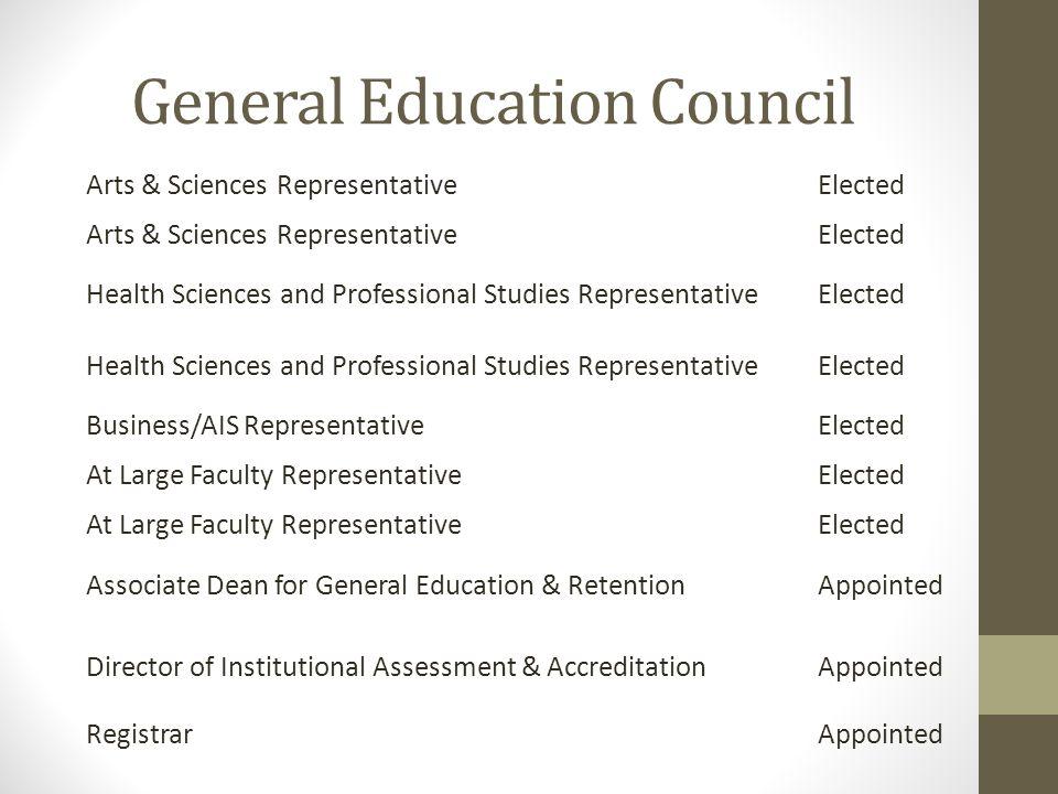 General Education Council Arts & Sciences RepresentativeElected Arts & Sciences RepresentativeElected Health Sciences and Professional Studies Represe