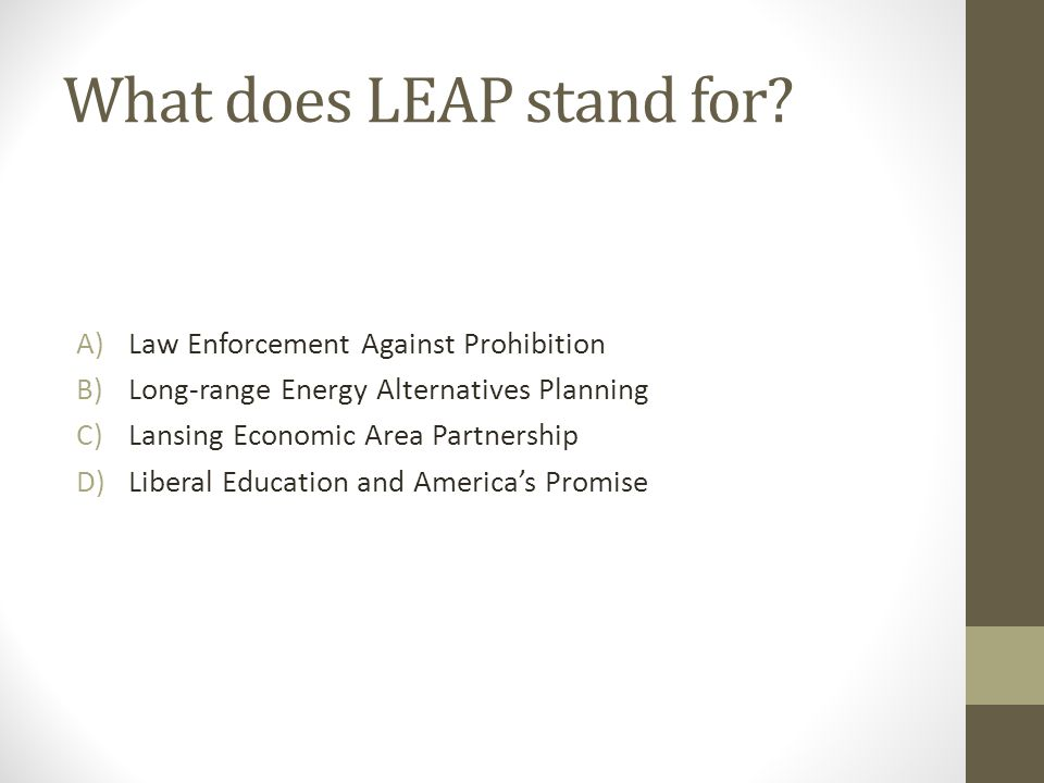 What does LEAP stand for? A)Law Enforcement Against Prohibition B)Long-range Energy Alternatives Planning C)Lansing Economic Area Partnership D)Libera