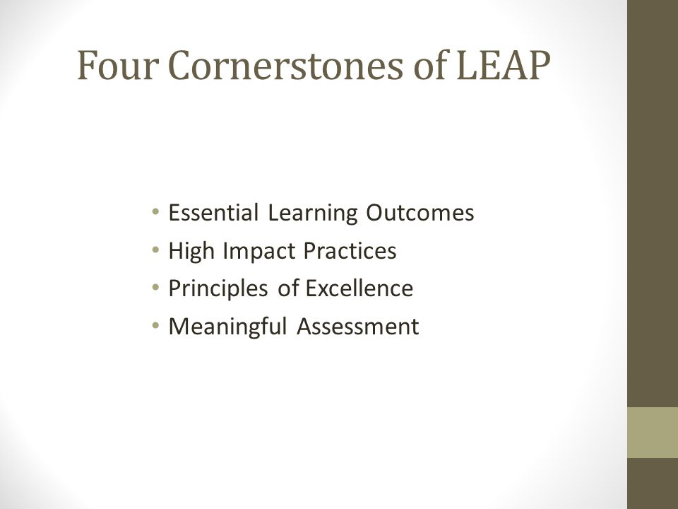 Four Cornerstones of LEAP Essential Learning Outcomes High Impact Practices Principles of Excellence Meaningful Assessment