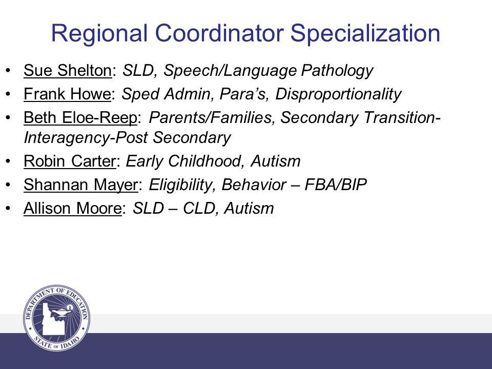 Regional Coordinator Specialization Sue Shelton: SLD, Speech/Language Pathology Frank Howe: Sped Admin, Para's, Disproportionality Beth Eloe-Reep: Par