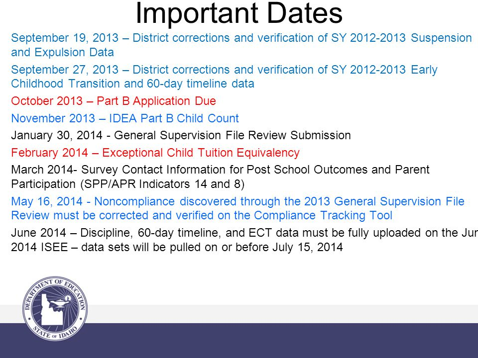 Important Dates September 19, 2013 – District corrections and verification of SY 2012-2013 Suspension and Expulsion Data September 27, 2013 – District