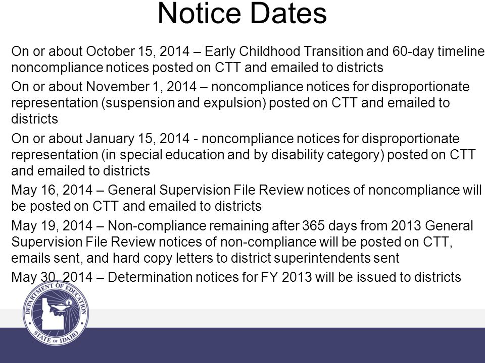 Notice Dates On or about October 15, 2014 – Early Childhood Transition and 60-day timeline noncompliance notices posted on CTT and emailed to districts On or about November 1, 2014 – noncompliance notices for disproportionate representation (suspension and expulsion) posted on CTT and emailed to districts On or about January 15, 2014 - noncompliance notices for disproportionate representation (in special education and by disability category) posted on CTT and emailed to districts May 16, 2014 – General Supervision File Review notices of noncompliance will be posted on CTT and emailed to districts May 19, 2014 – Non-compliance remaining after 365 days from 2013 General Supervision File Review notices of non-compliance will be posted on CTT, emails sent, and hard copy letters to district superintendents sent May 30, 2014 – Determination notices for FY 2013 will be issued to districts