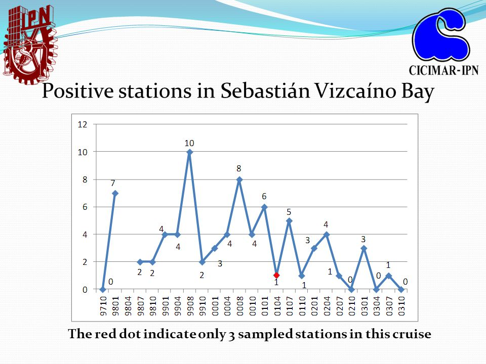 Positive stations in Sebastián Vizcaíno Bay The red dot indicate only 3 sampled stations in this cruise
