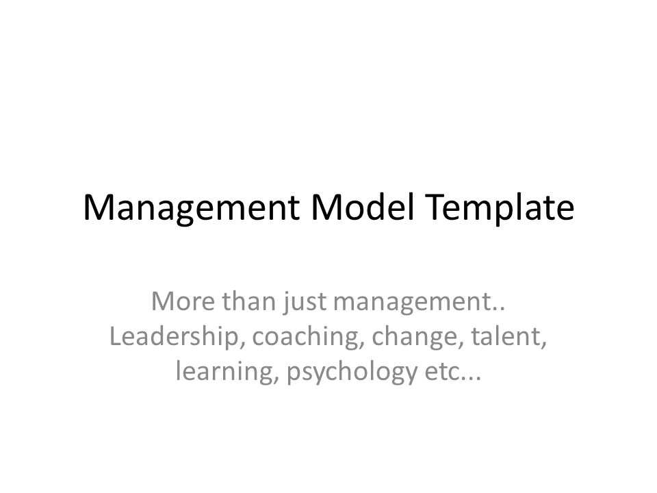 Management Model Template More than just management..