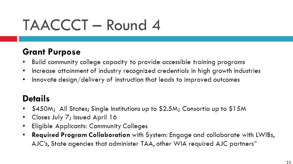 15 TAACCCT – Round 4 Grant Purpose Build community college capacity to provide accessible training programs Increase attainment of industry recognized credentials in high growth industries Innovate design/delivery of instruction that leads to improved outcomes Details $450M; All States; Single Institutions up to $2.5M; Consortia up to $15M Closes July 7; Issued April 16 Eligible Applicants: Community Colleges Required Program Collaboration with System: Engage and collaborate with LWIBs, AJC's, State agencies that administer TAA, other WIA required AJC partners