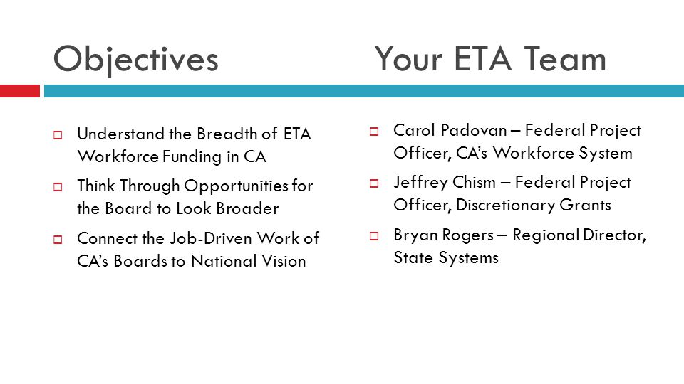 Objectives Your ETA Team  Understand the Breadth of ETA Workforce Funding in CA  Think Through Opportunities for the Board to Look Broader  Connect the Job-Driven Work of CA's Boards to National Vision  Carol Padovan – Federal Project Officer, CA's Workforce System  Jeffrey Chism – Federal Project Officer, Discretionary Grants  Bryan Rogers – Regional Director, State Systems