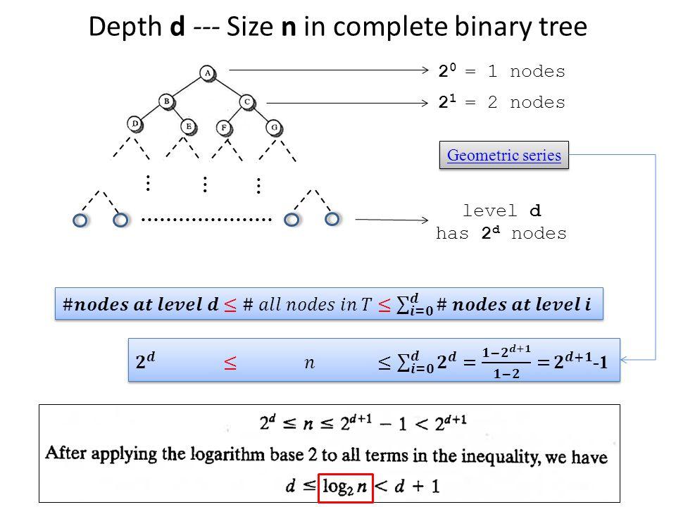 Depth d --- Size n in complete binary tree … ………………… … … level d has 2 d nodes 2 0 = 1 nodes 2 1 = 2 nodes Geometric series