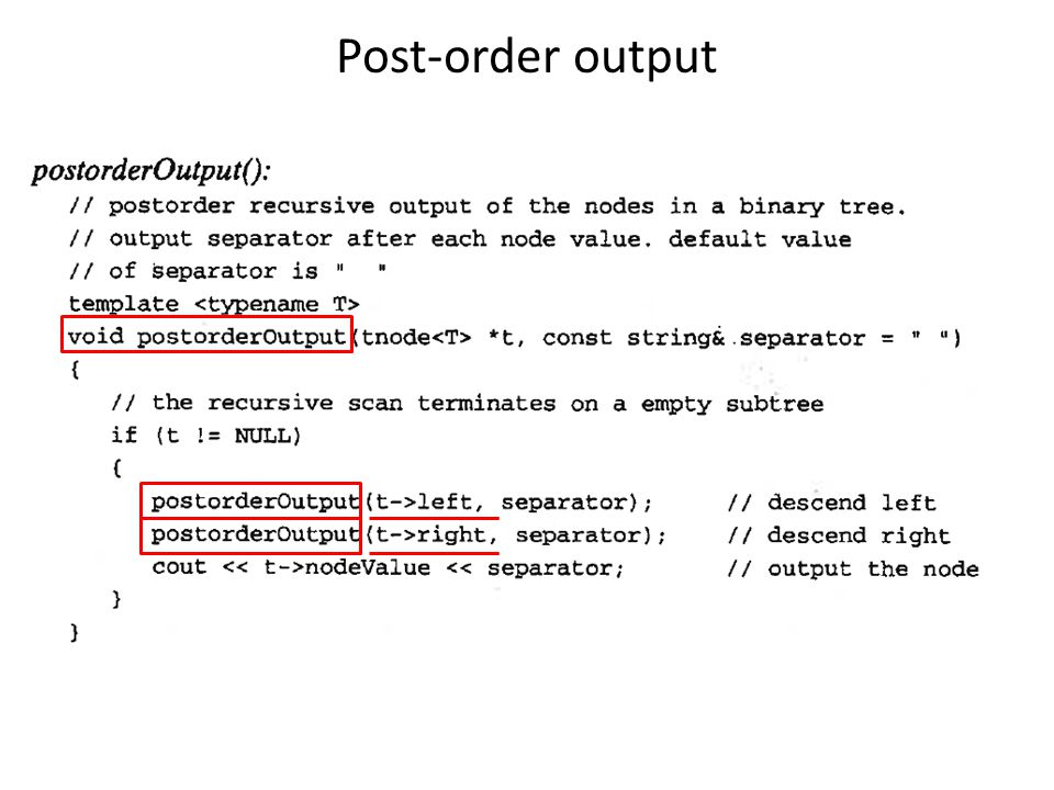 Post-order output