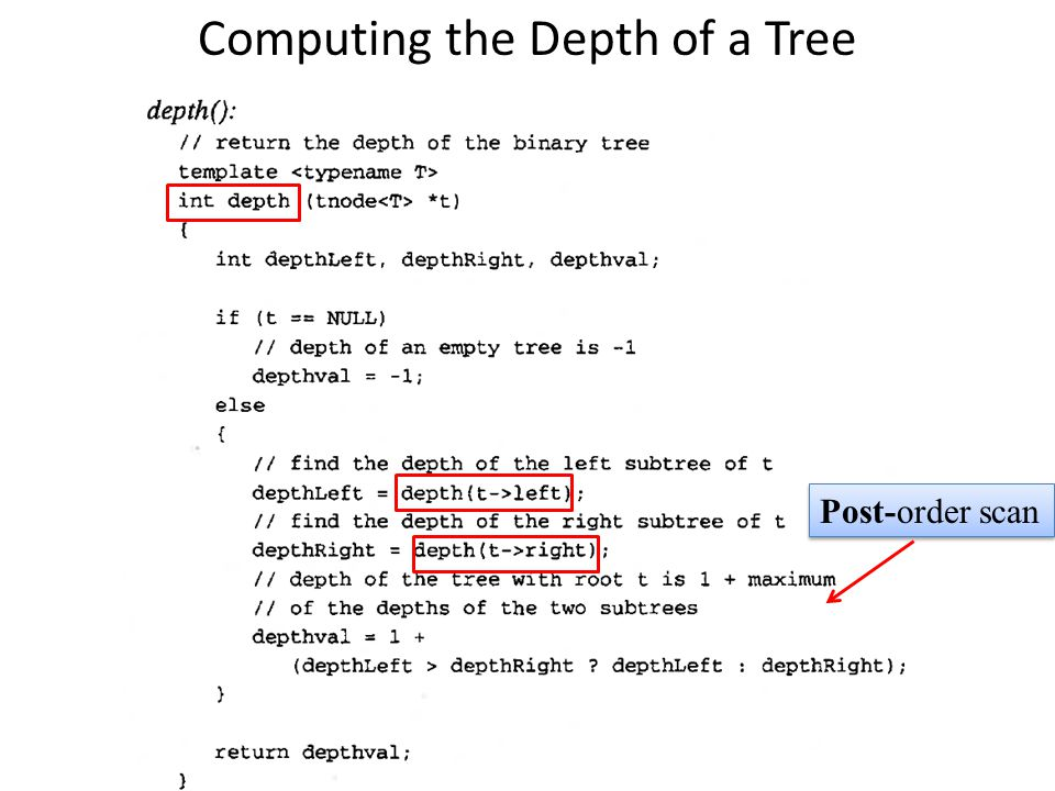 Computing the Depth of a Tree Post-order scan