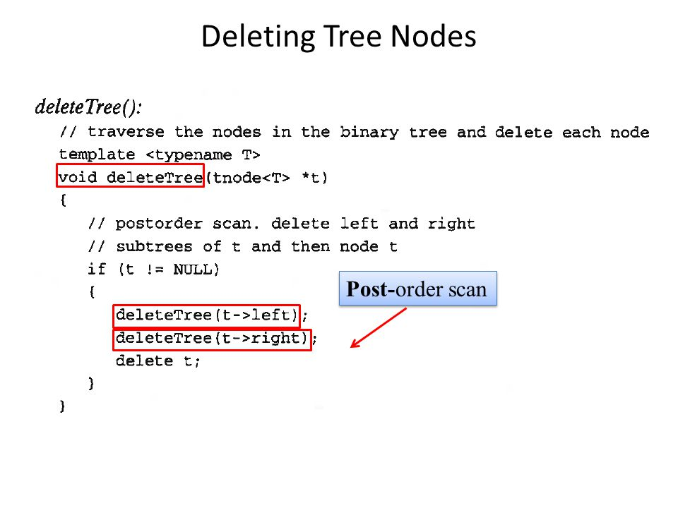 Deleting Tree Nodes Post-order scan