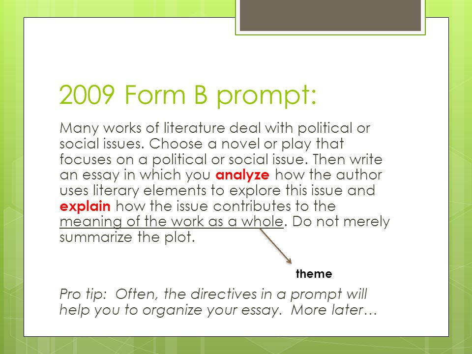 2009 Form B prompt: Many works of literature deal with political or social issues. Choose a novel or play that focuses on a political or social issue.