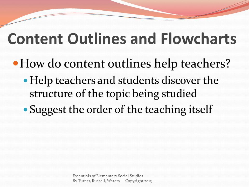Content Outlines and Flowcharts How do content outlines help teachers.