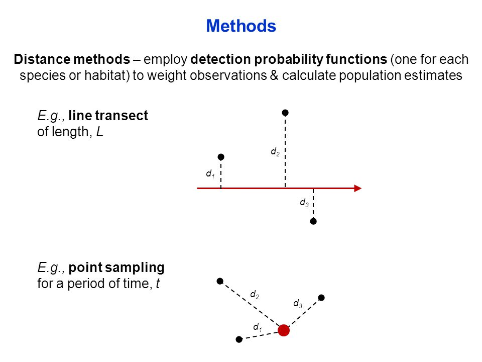 Distance methods – employ detection probability functions (one for each species or habitat) to weight observations & calculate population estimates Methods E.g., line transect of length, L E.g., point sampling for a period of time, t d1d1 d2d2 d3d3 d1d1 d2d2 d3d3