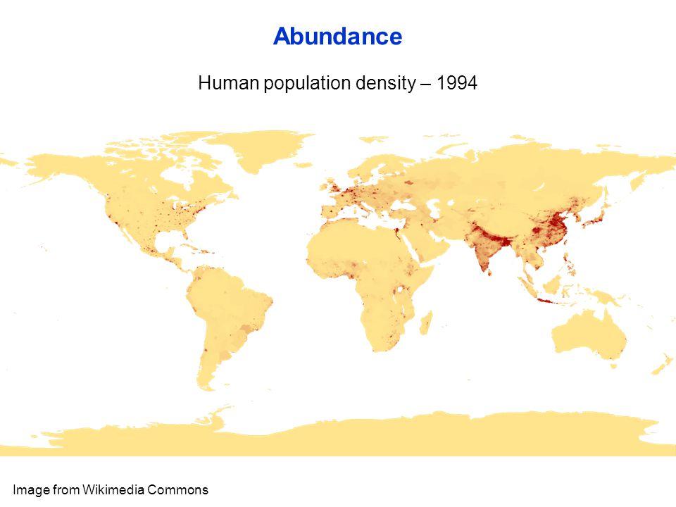 Human population density – 1994 Abundance Image from Wikimedia Commons