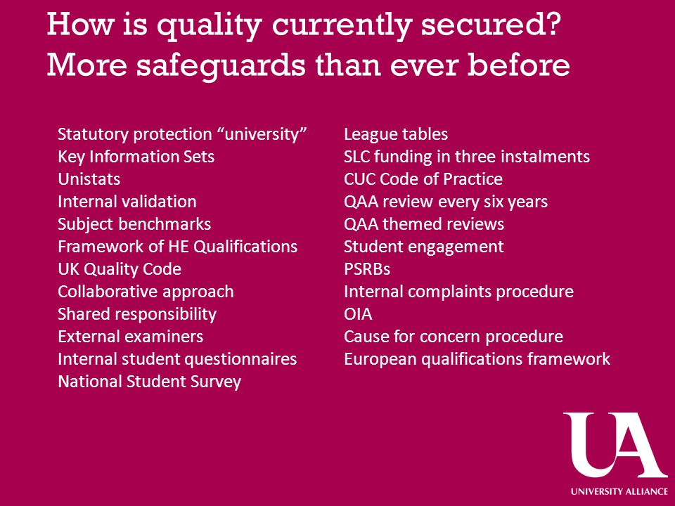 How is quality currently secured.