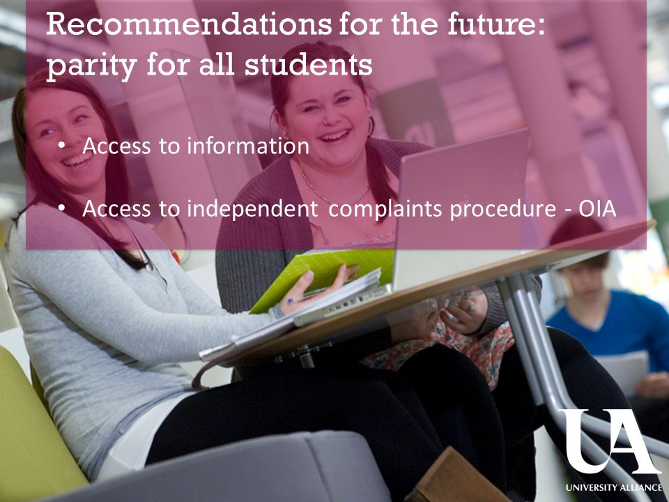 Recommendations for the future: parity for all students ​ Access to information Access to independent complaints procedure - OIA