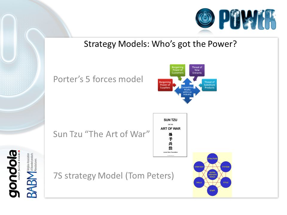 Porter's 5 forces model Sun Tzu The Art of War 7S strategy Model (Tom Peters) Strategy Models: Who's got the Power