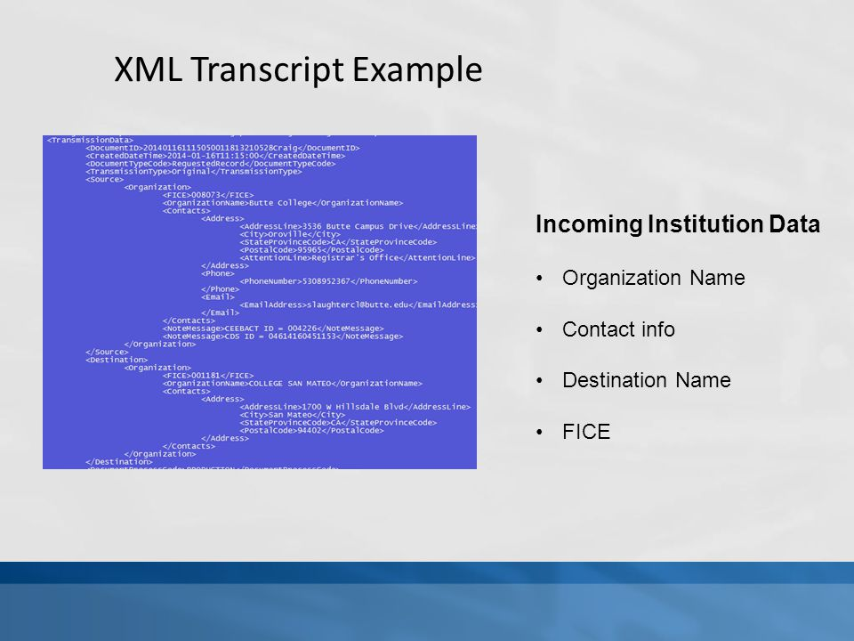 XML Transcript Example Incoming Institution Data Organization Name Contact info Destination Name FICE