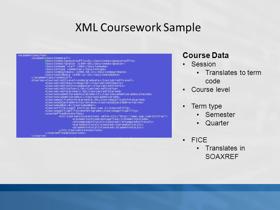 XML Coursework Sample Course Data Session Translates to term code Course level Term type Semester Quarter FICE Translates in SOAXREF