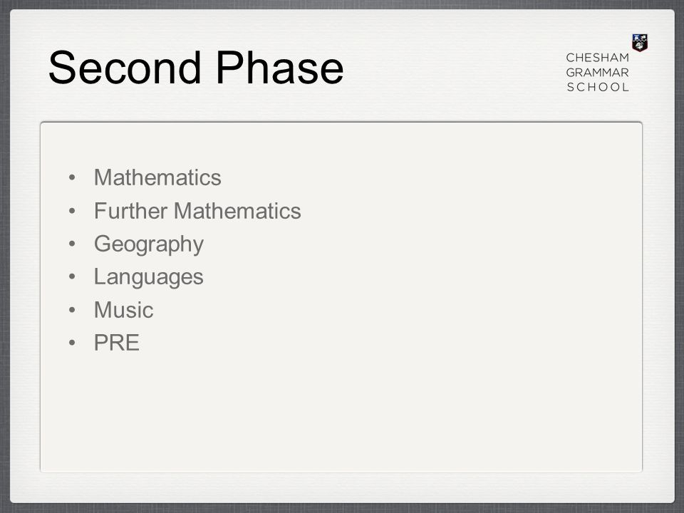 Second Phase Mathematics Further Mathematics Geography Languages Music PRE