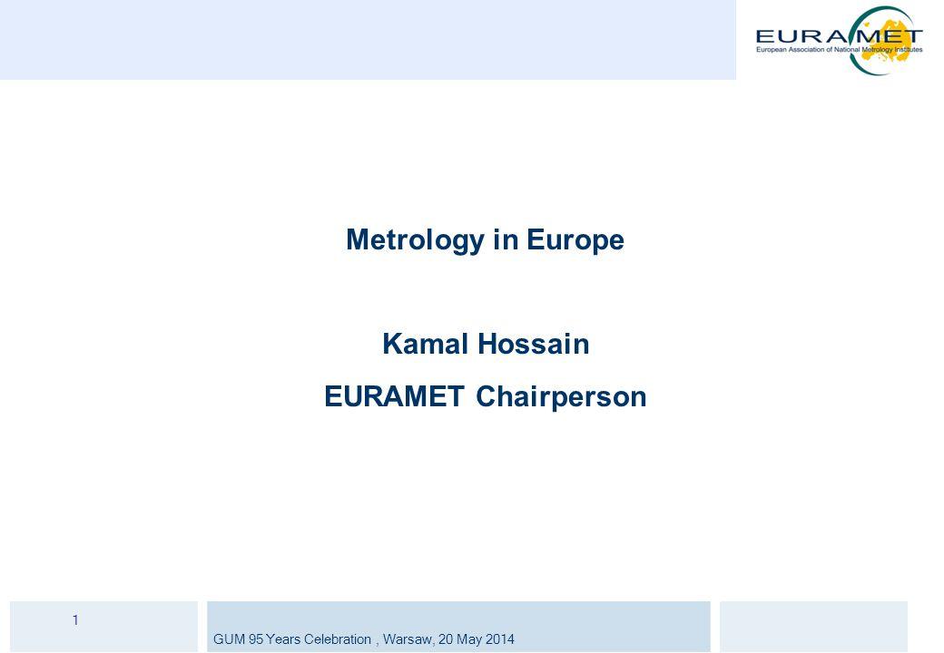 GUM 95 Years Celebration, Warsaw, 20 May 2014 1 Metrology in Europe Kamal Hossain EURAMET Chairperson