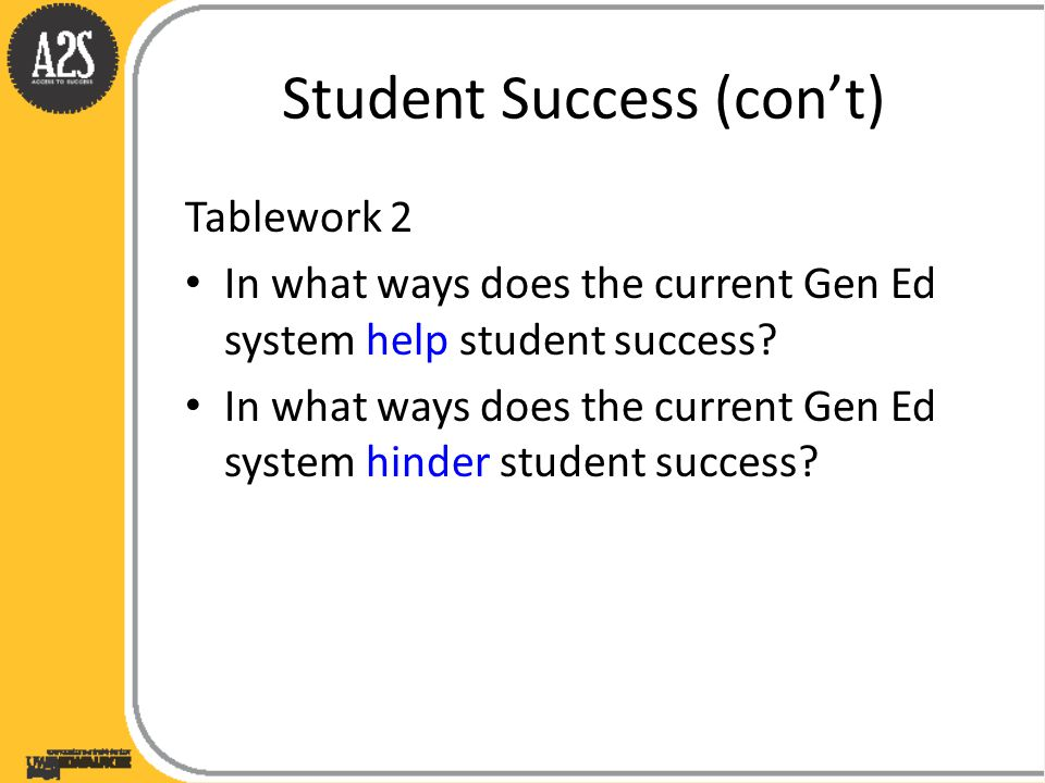 Student Success (con't) Tablework 2 In what ways does the current Gen Ed system help student success.