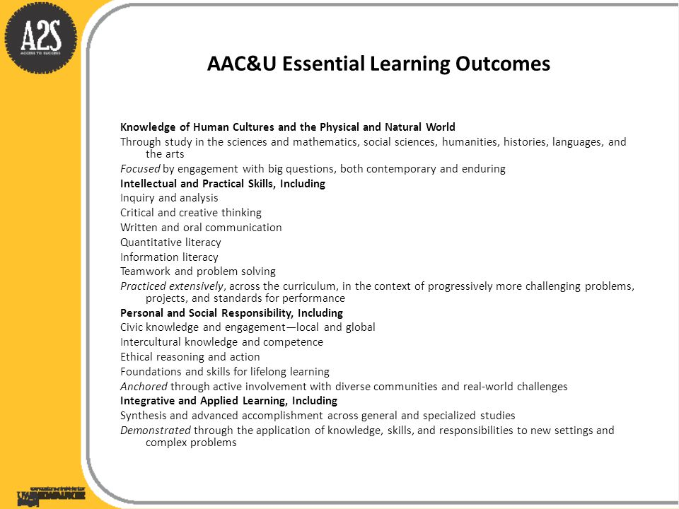AAC&U Essential Learning Outcomes Knowledge of Human Cultures and the Physical and Natural World Through study in the sciences and mathematics, social sciences, humanities, histories, languages, and the arts Focused by engagement with big questions, both contemporary and enduring Intellectual and Practical Skills, Including Inquiry and analysis Critical and creative thinking Written and oral communication Quantitative literacy Information literacy Teamwork and problem solving Practiced extensively, across the curriculum, in the context of progressively more challenging problems, projects, and standards for performance Personal and Social Responsibility, Including Civic knowledge and engagement—local and global Intercultural knowledge and competence Ethical reasoning and action Foundations and skills for lifelong learning Anchored through active involvement with diverse communities and real-world challenges Integrative and Applied Learning, Including Synthesis and advanced accomplishment across general and specialized studies Demonstrated through the application of knowledge, skills, and responsibilities to new settings and complex problems
