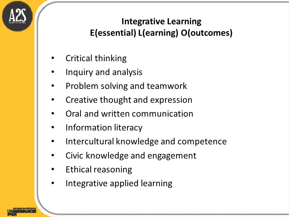 Integrative Learning E(essential) L(earning) O(outcomes) Critical thinking Inquiry and analysis Problem solving and teamwork Creative thought and expr