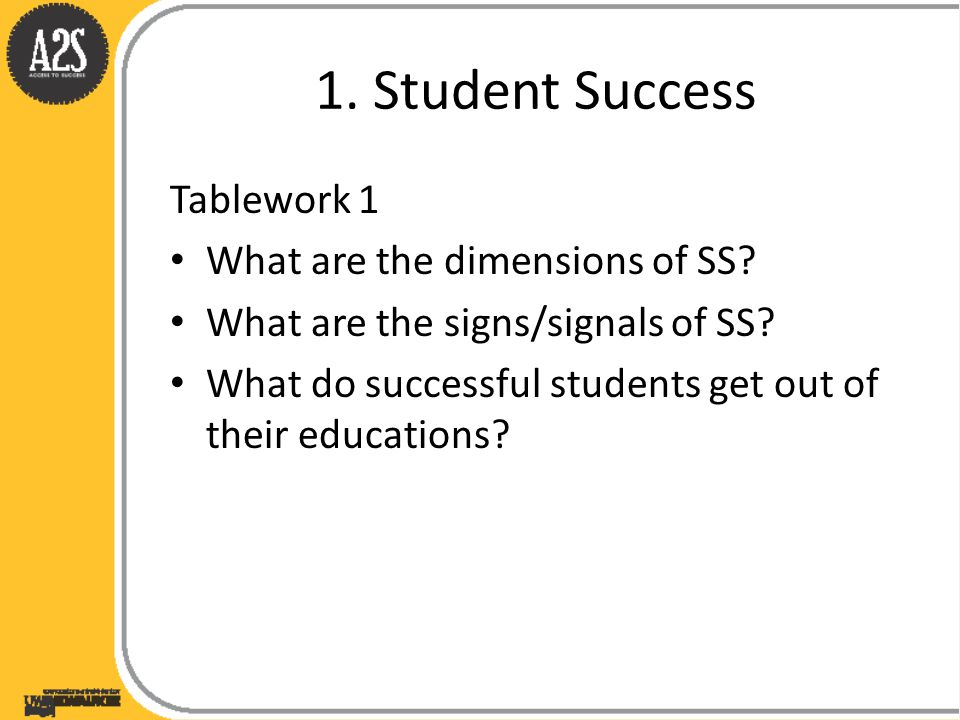 1. Student Success Tablework 1 What are the dimensions of SS.