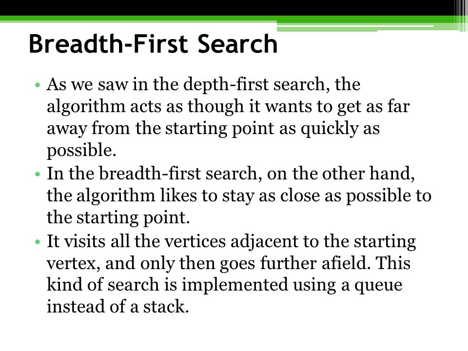 Breadth-First Search As we saw in the depth-first search, the algorithm acts as though it wants to get as far away from the starting point as quickly as possible.