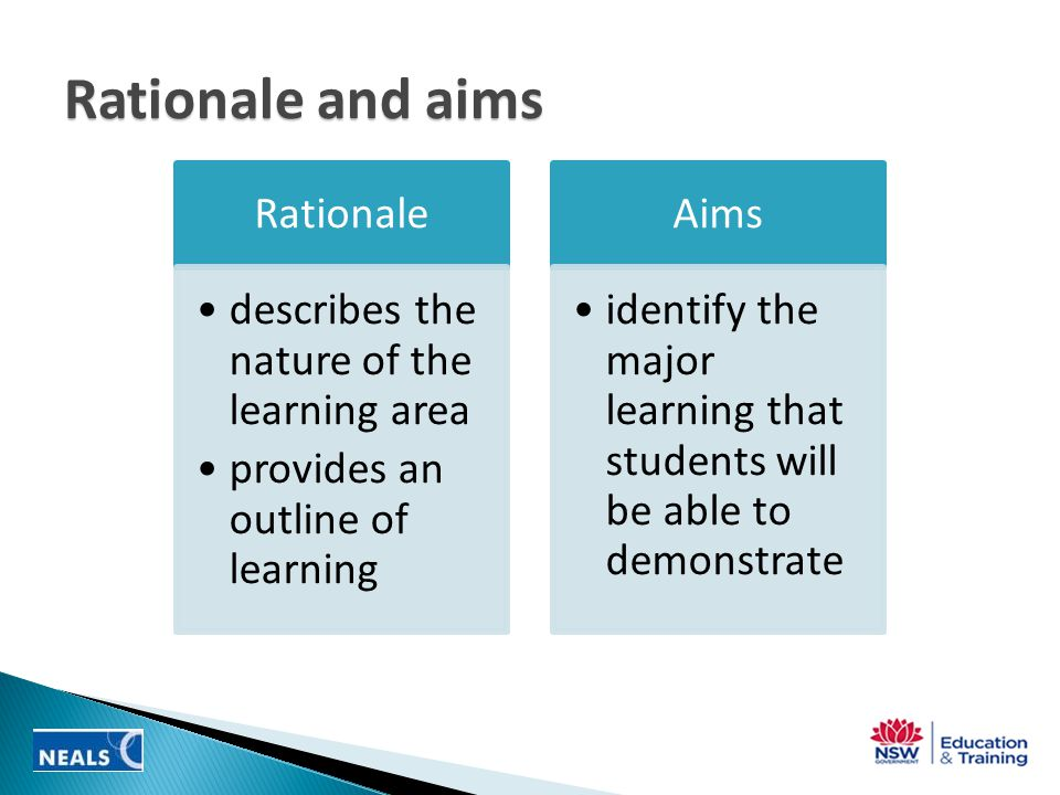 Rationale and aims Rationale describes the nature of the learning area provides an outline of learning Aims identify the major learning that students will be able to demonstrate