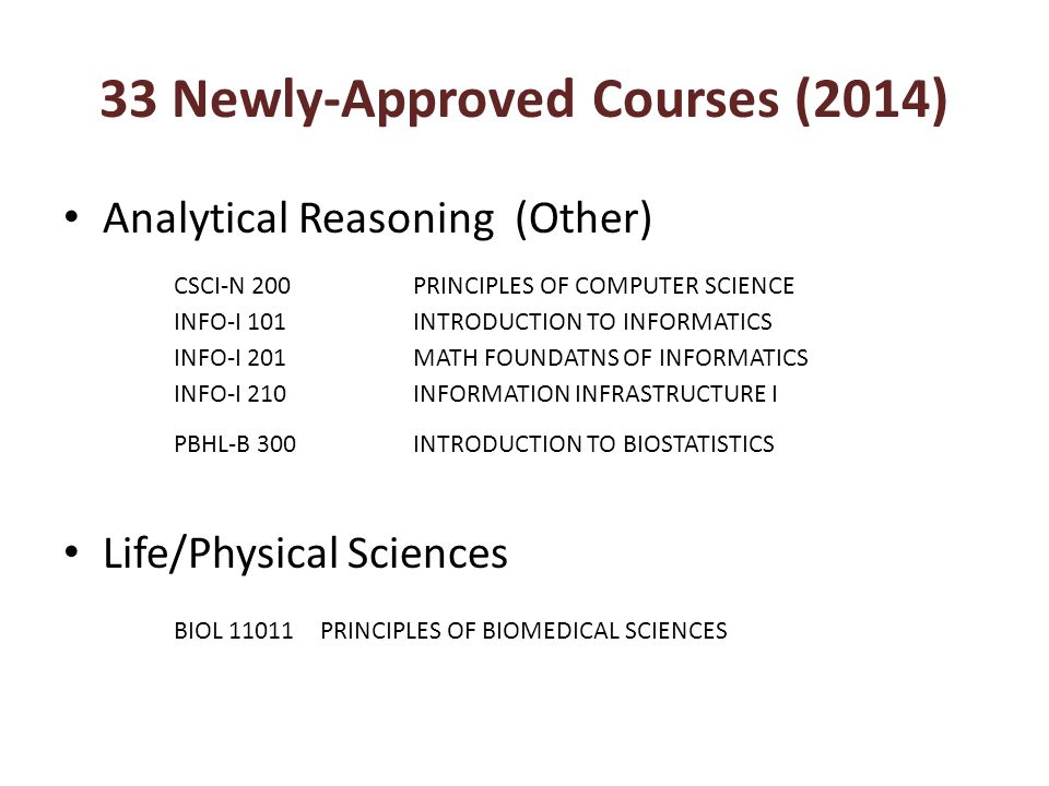 33 Newly-Approved Courses (2014) Analytical Reasoning (Other) Life/Physical Sciences CSCI-N 200PRINCIPLES OF COMPUTER SCIENCE INFO-I 101INTRODUCTION T