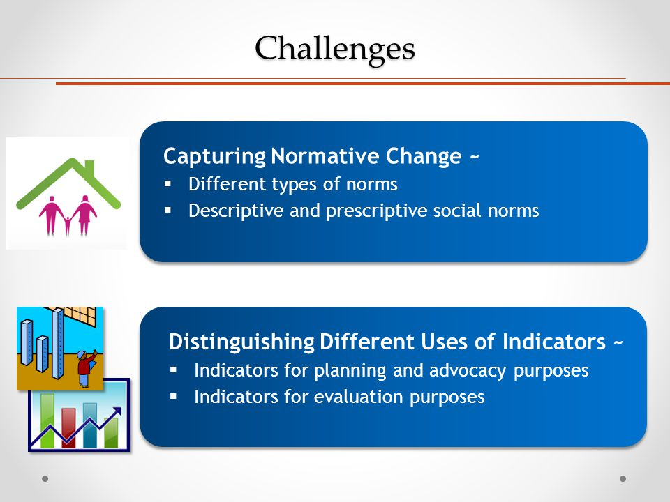 Challenges Distinguishing Different Uses of Indicators ~  Indicators for planning and advocacy purposes  Indicators for evaluation purposes Capturin