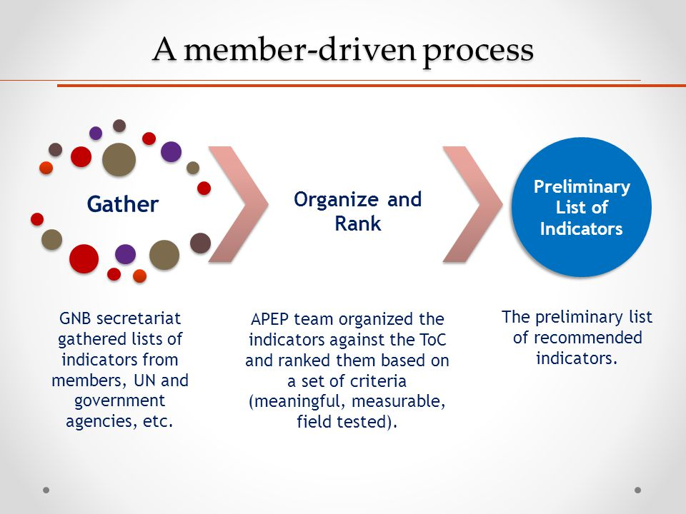 A member-driven process Gather Organize and Rank Preliminary List of Indicators GNB secretariat gathered lists of indicators from members, UN and gove