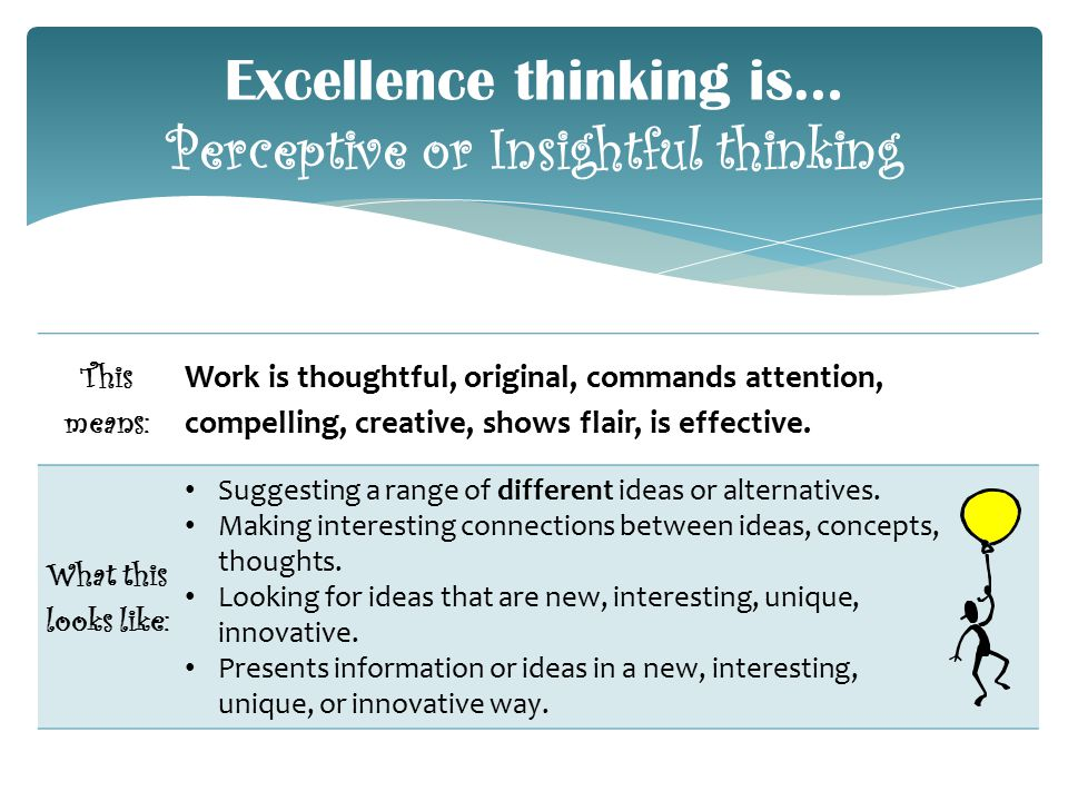 This means: Work is thoughtful, original, commands attention, compelling, creative, shows flair, is effective.
