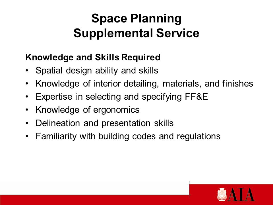 Space Planning Supplemental Service Knowledge and Skills Required Spatial design ability and skills Knowledge of interior detailing, materials, and finishes Expertise in selecting and specifying FF&E Knowledge of ergonomics Delineation and presentation skills Familiarity with building codes and regulations