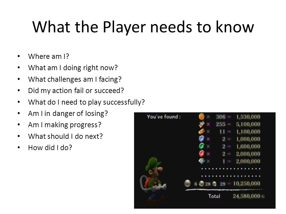 What the Player needs to know Where am I? What am I doing right now? What challenges am I facing? Did my action fail or succeed? What do I need to pla