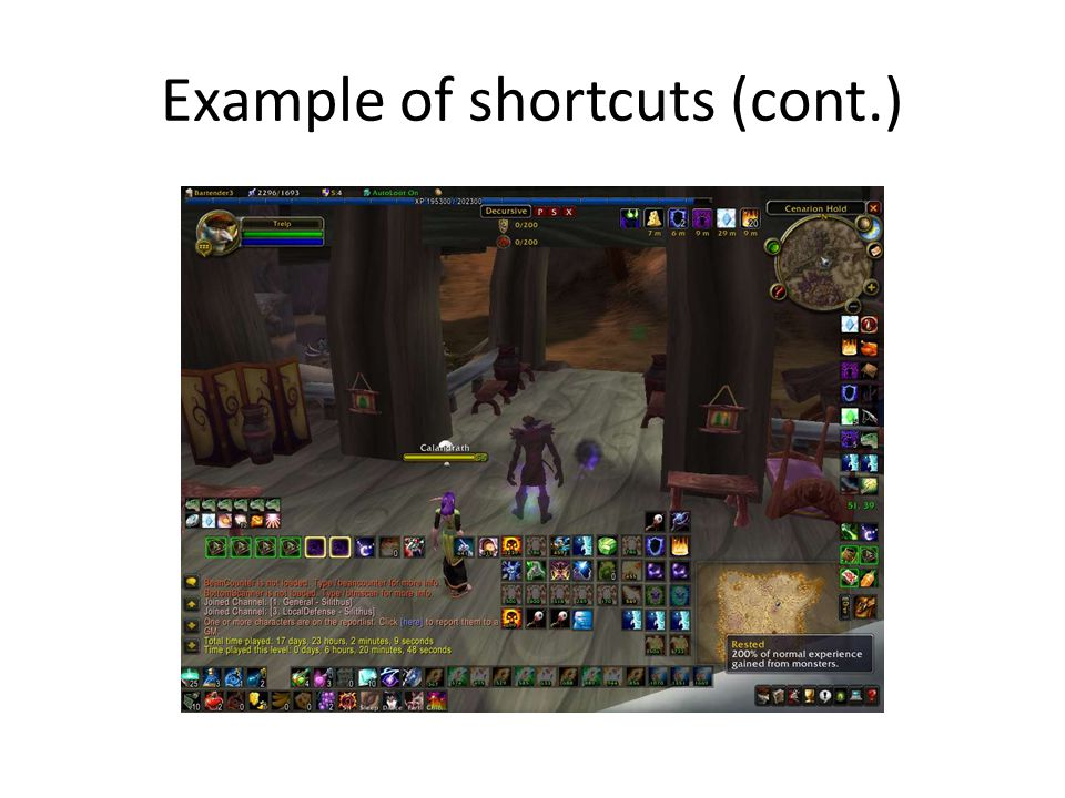 Example of shortcuts (cont.)