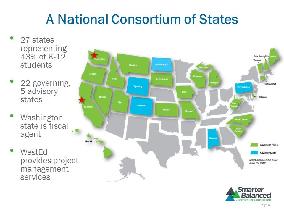 A National Consortium of States 27 states representing 43% of K-12 students 22 governing, 5 advisory states Washington state is fiscal agent WestEd provides project management services Page 4