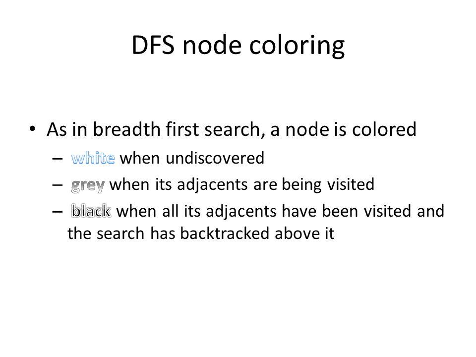 DFS node coloring