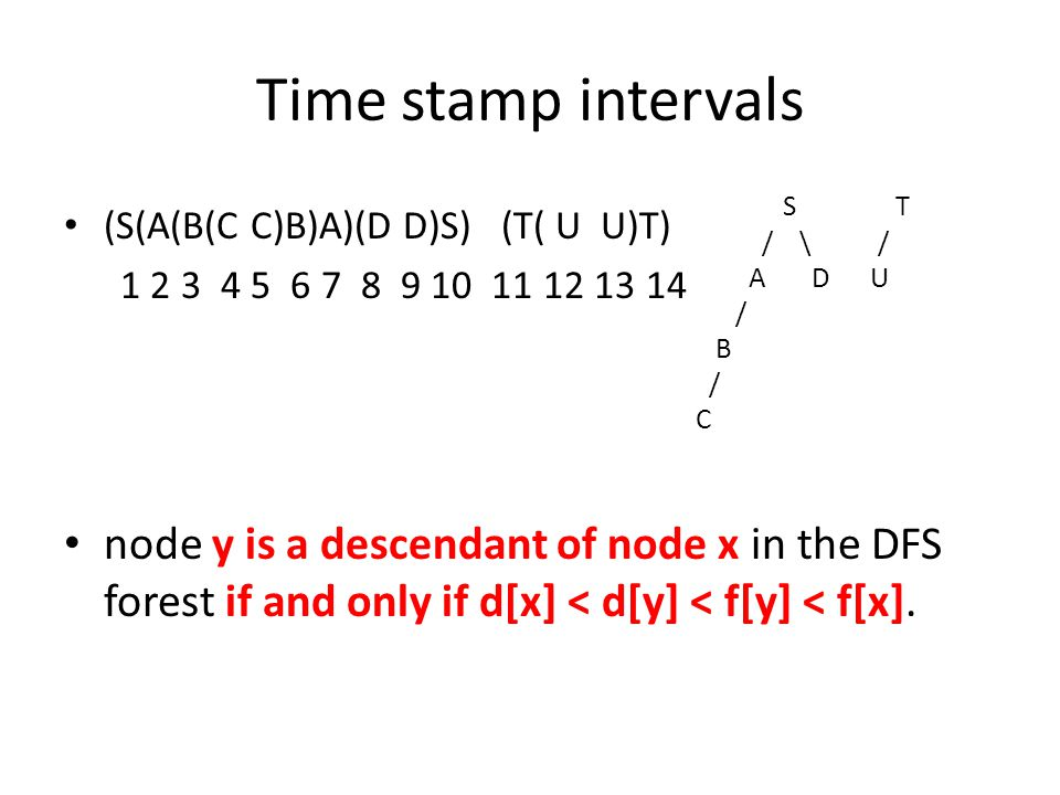 Time stamp intervals (S(A(B(C C)B)A)(D D)S) (T( U U)T) 1 2 3 4 5 6 7 8 9 10 11 12 13 14 node y is a descendant of node x in the DFS forest if and only